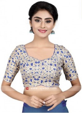 Blue and Cream Designer Blouse