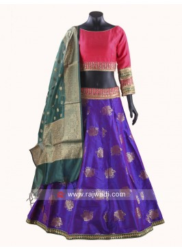 Blue and Deep Pink Printed Chaniya Choli