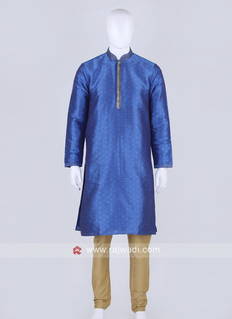 Blue and golden kurta pajama