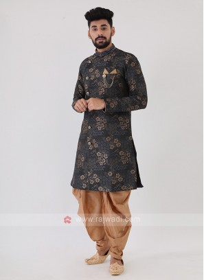 Steel Blue And Golden Mens Indo-Western