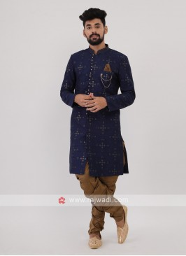 Blue And Golden Mens Indo-Western
