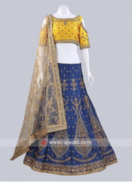 Blue and Golden Raw Silk Lehenga