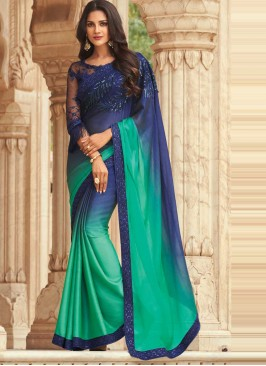 Blue and Green Ceremonial Silk Shaded Saree