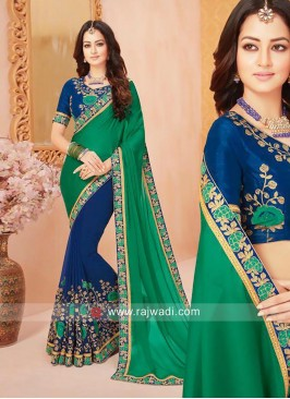 Blue and Green Half Saree