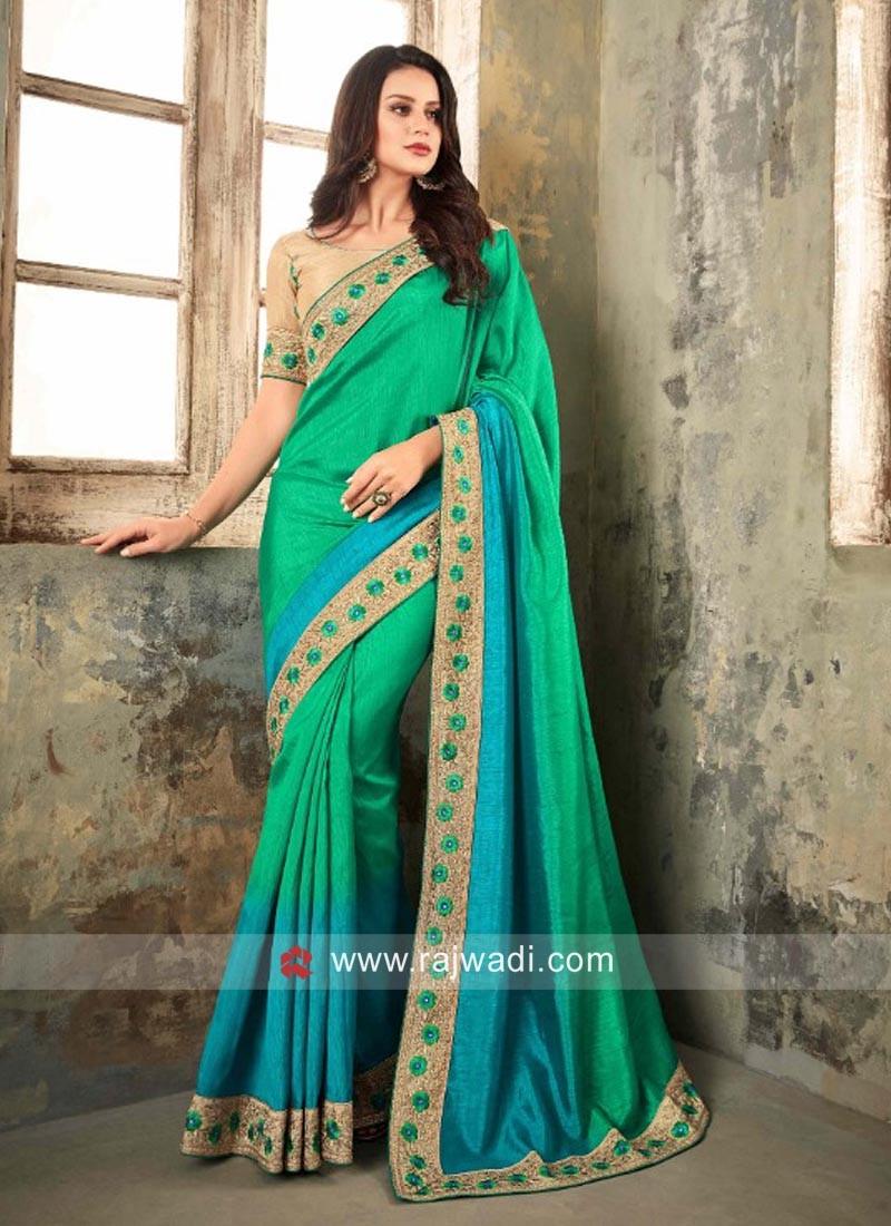 Blue and Green Shaded Saree