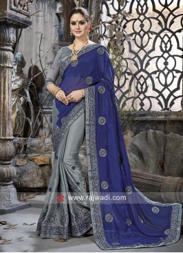 Blue and Grey Chiffon Silk Half n Half Saree