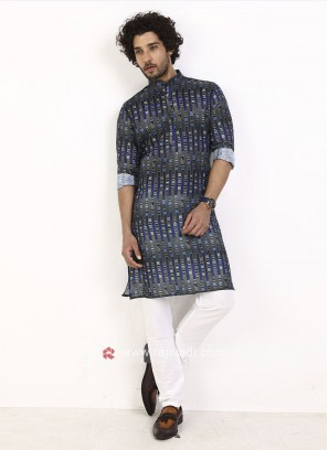 blue and grey printed kurta