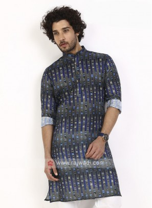 blue and grey printed kurta