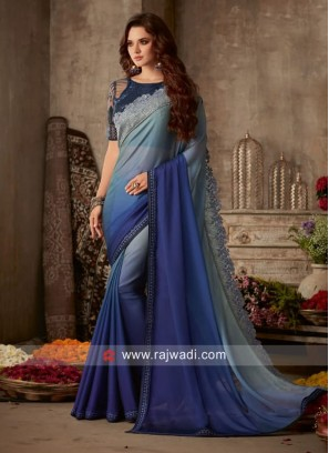 Blue and Grey Shaded Saree