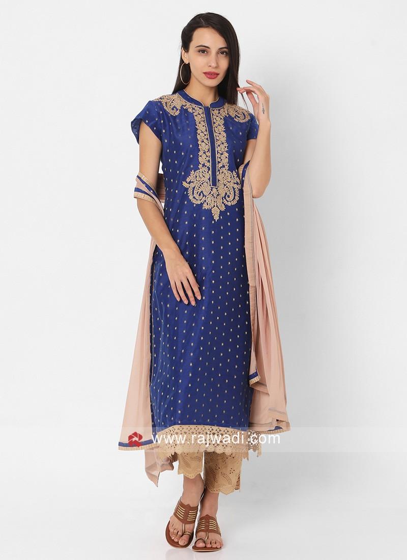Blue And Khakhi Color Pant Style Suit