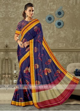 blue and magneta color pure silk saree