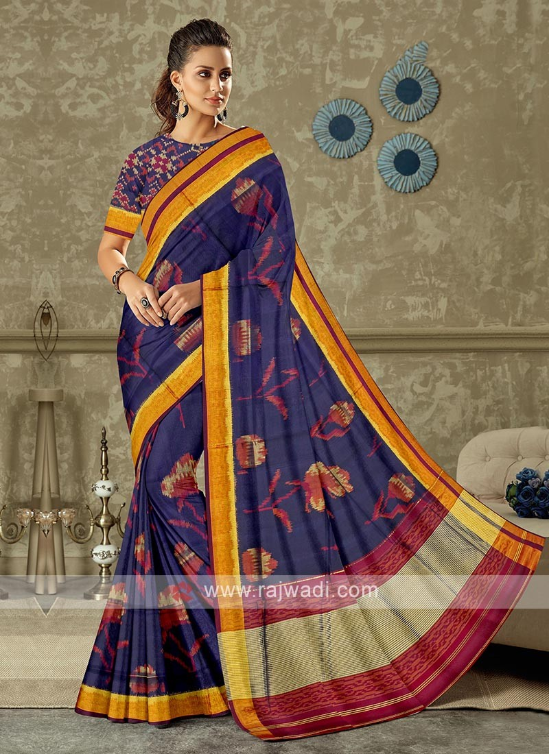blue and magneta color pure silk saree