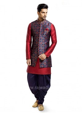 Blue and Maroon Color Patiala Suit
