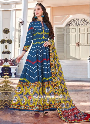 Blue and Maroon Colour Anarkali Suit With Yellow Dupatta