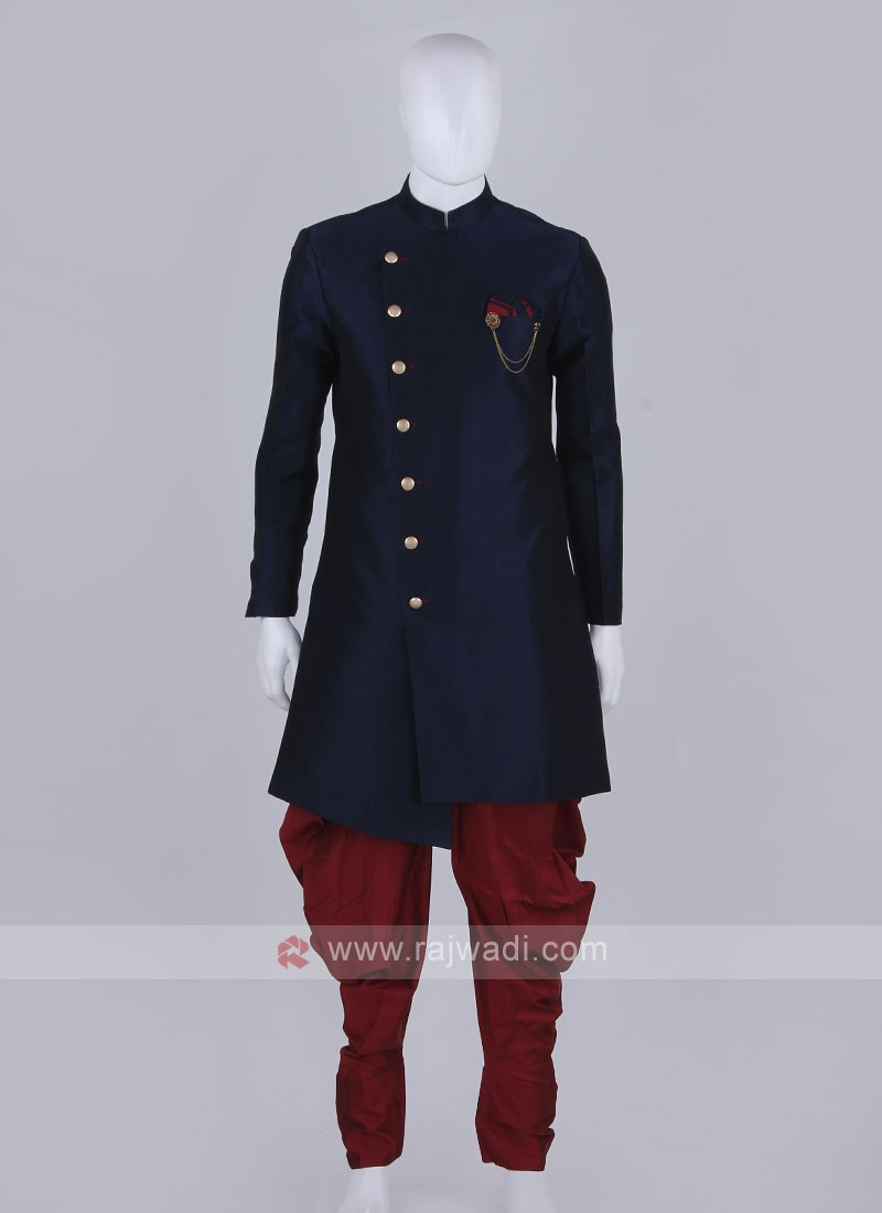 blue and maroon Indo Western