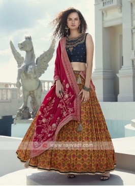blue and mustard yellow lehenga choli