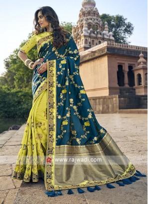 Blue and parrot green color banarasi silk saree