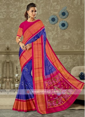 Blue and pink color pure silk saree