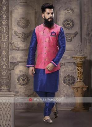 Royal Blue And Pink Nehru Jacket