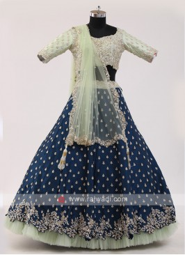 Blue And Pista Green Choli Suit