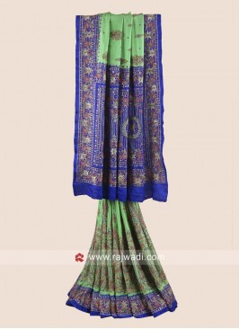 Blue and Pista Green Heavy Wedding Saree