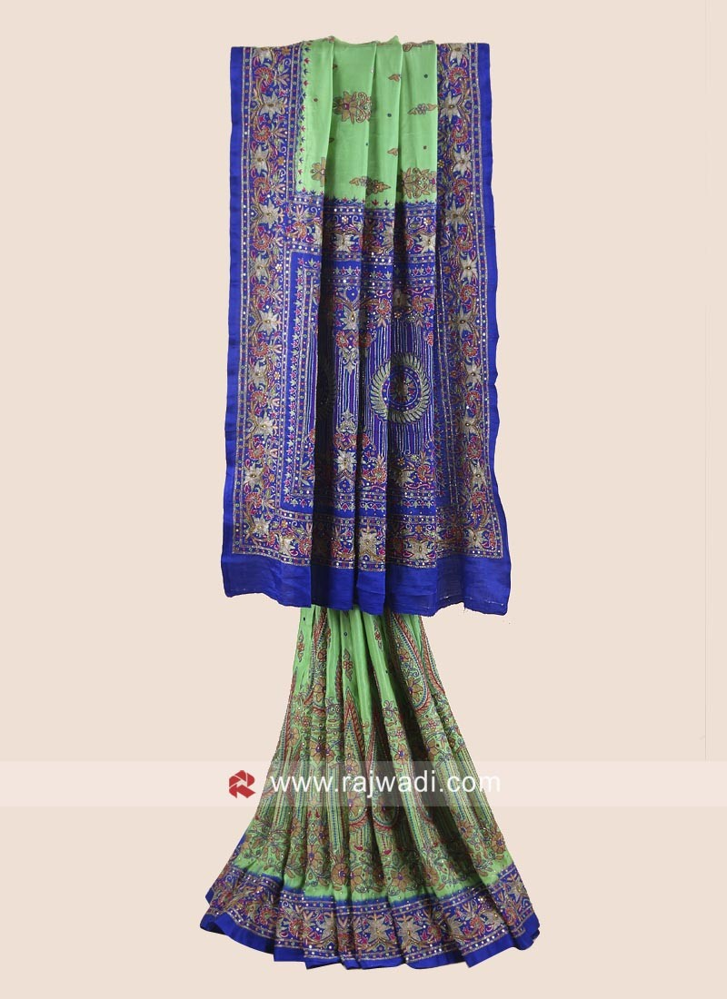 Blue and Pista Green Heavy Wedding Saree