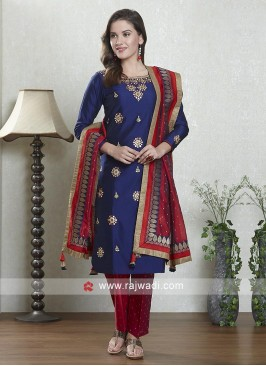 Blue and red color cotton silk salwar suit