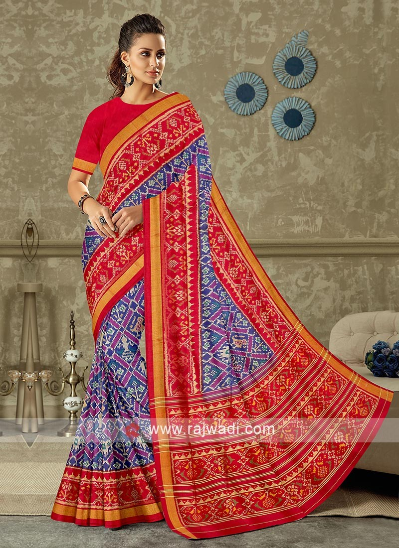 blue and red color pure silk saree