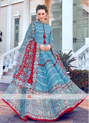 Blue And Red Colour Anarkali Suit With Matching Dupatta