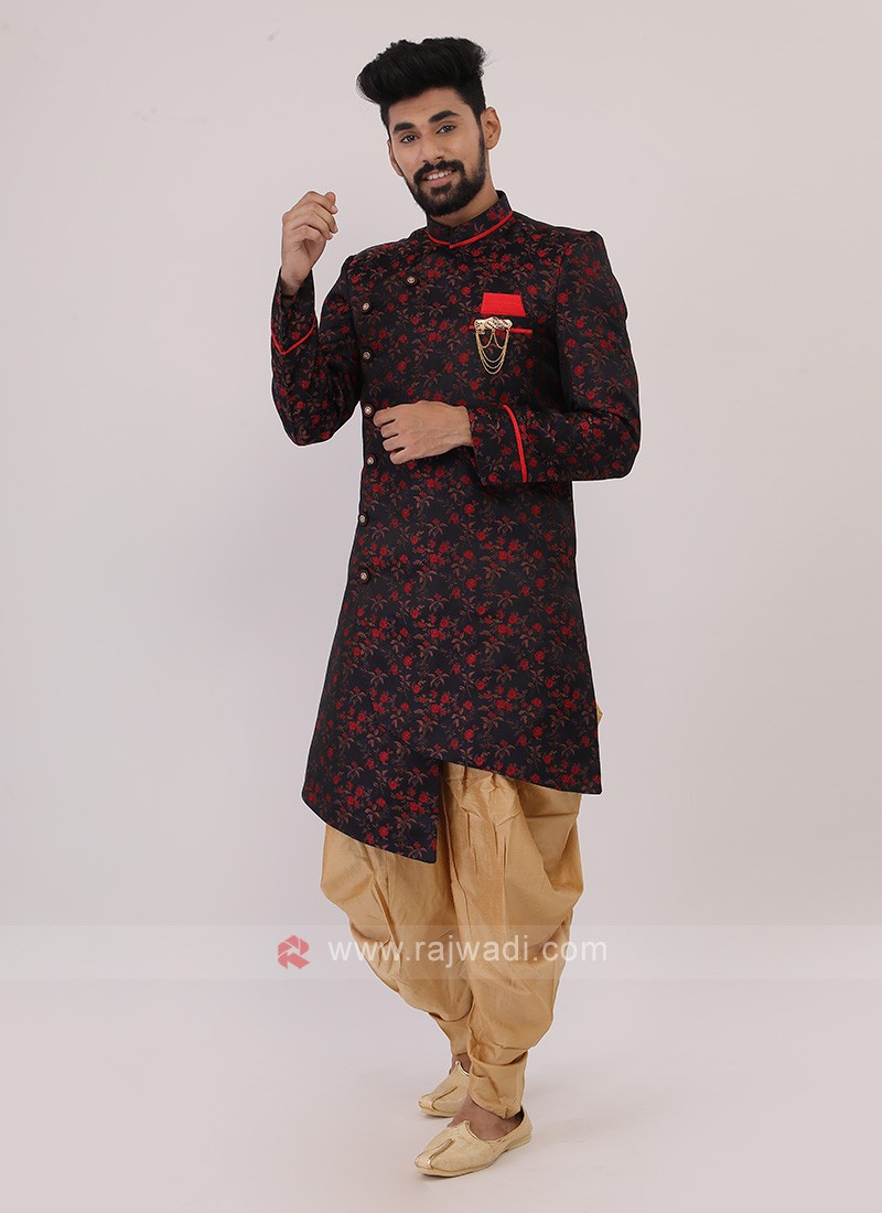 Blue And Red Mens Indo-Western