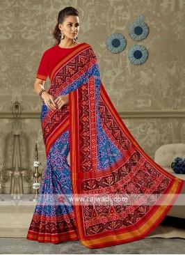 Blue And Red Patola Print Saree