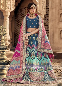 Blue and royal blue lehenga choli