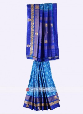 Blue and royal blue pure silk saree