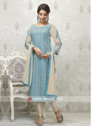 Blue and skin Salwar suit
