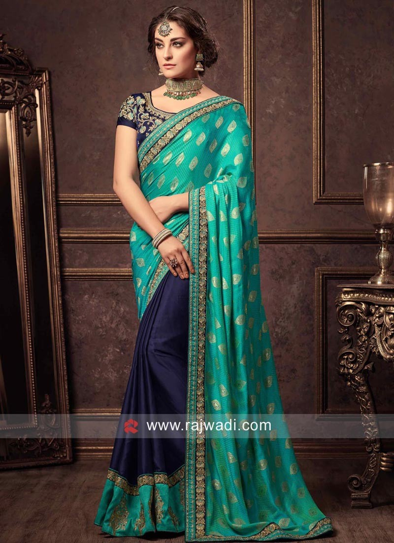Blue and Teal Half Sari