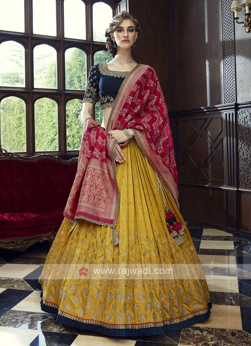 Blue and yellow lehenga choli suit