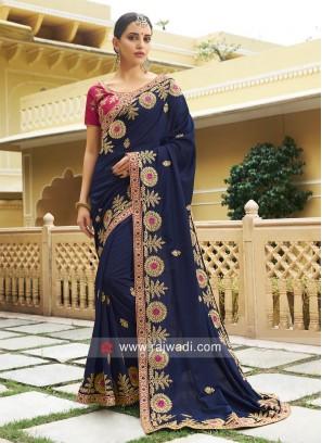 Blue Art Silk Embroidered Saree