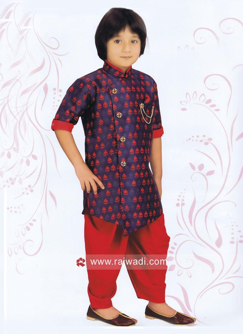 Blue Art Silk Fabric Indo Western