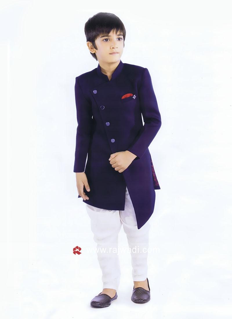 Blue Art Silk Fabric Indo Western For boys