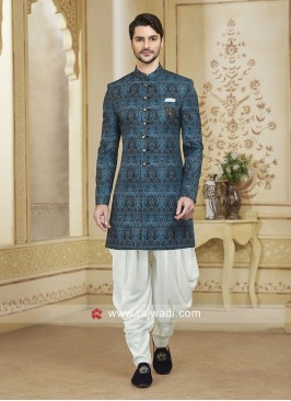Blue Art Silk Fabric Patiala Suit