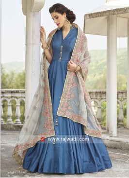 Blue Art Silk Full Length Anarkali Dress