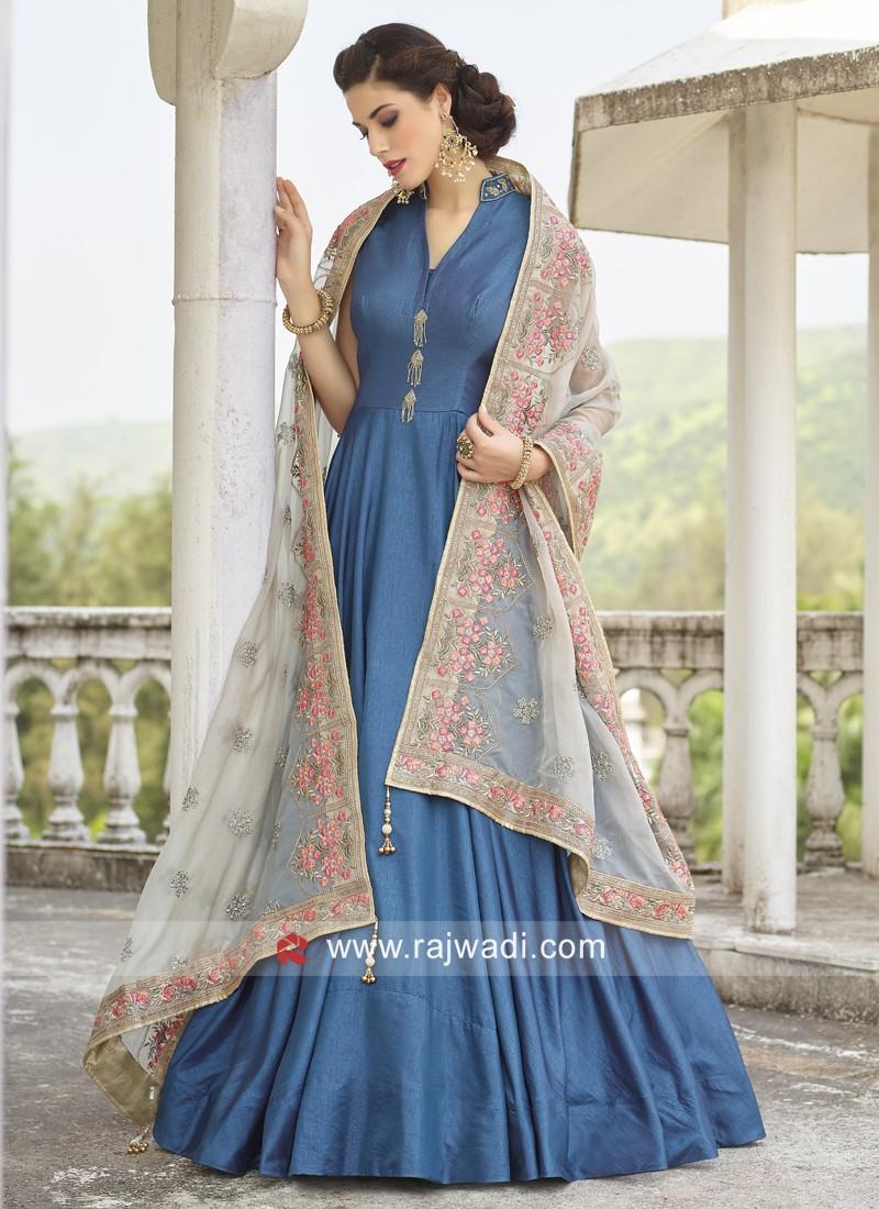 Blue Art Silk Full Length Anarkali Dress