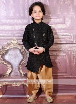 Black Art Silk Indo Western For Boys