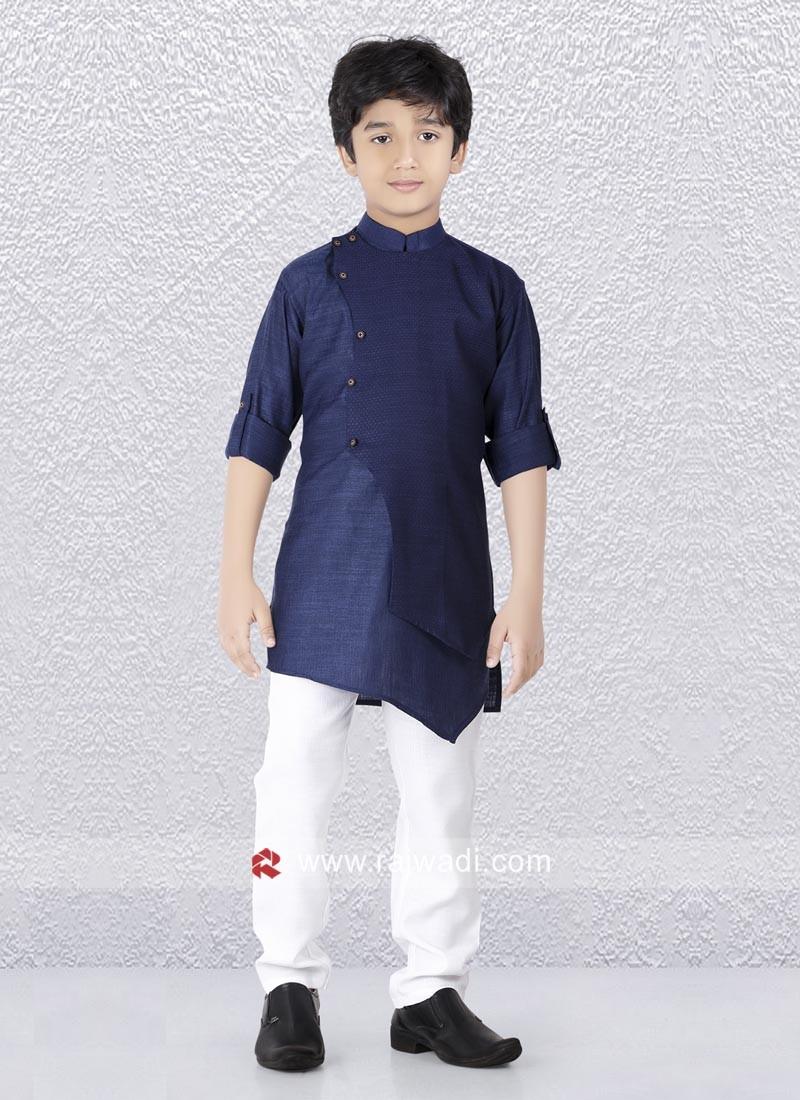 Blue Art Silk Kurta Set For Kids