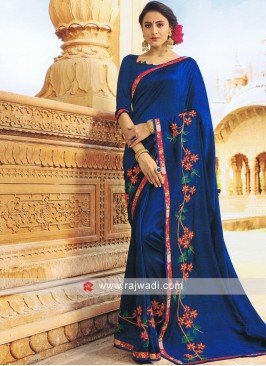 Blue Art Silk Saree with Blouse