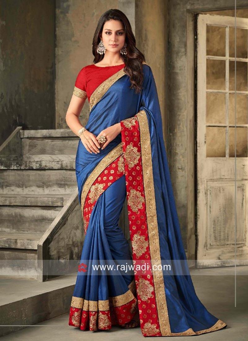 Blue Art Silk Saree with Contrast Border