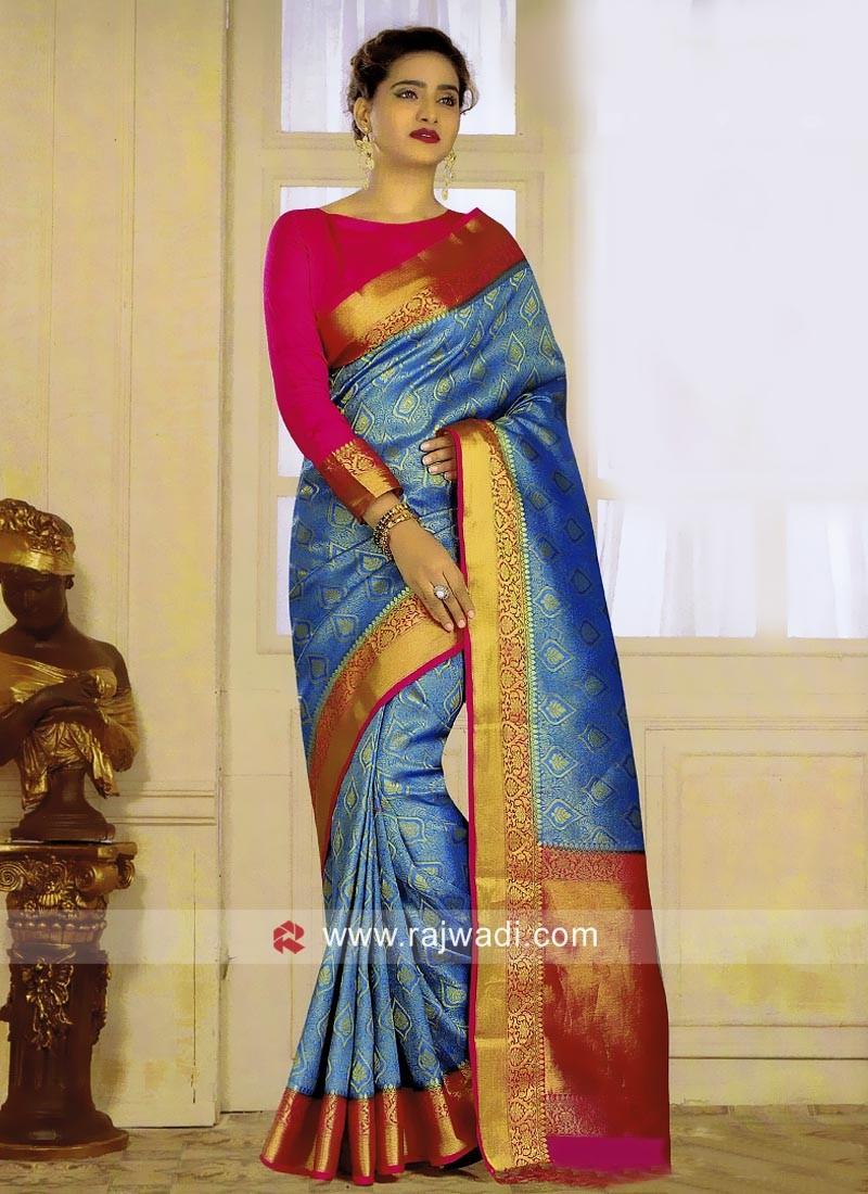 Blue Banarasi Silk Saree