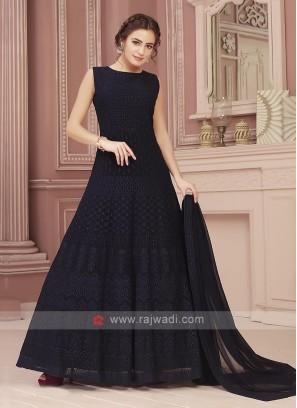 Blue Chiffon Fabric Anarkali Dress