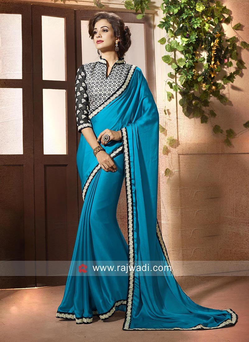 Blue Chinon Saree with Border