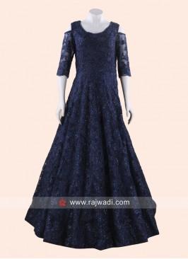 Blue Cold Shoulder Floor Length Gown